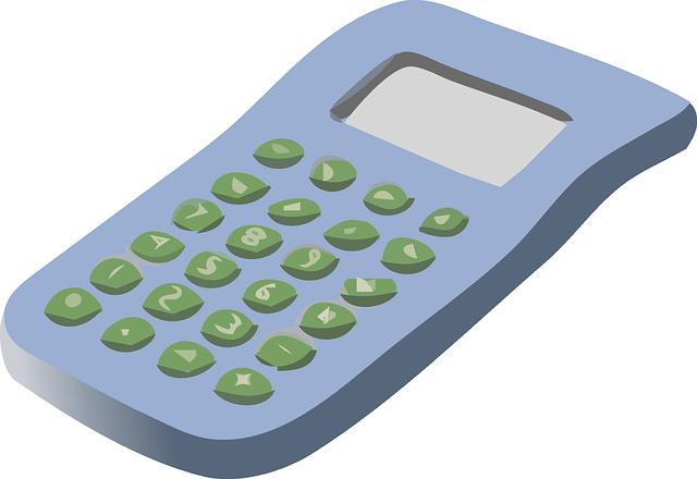 modrá kalkulačka, zelená čísla