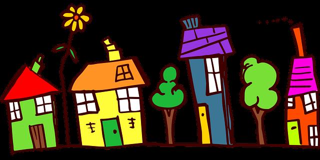 stromy mezi domy